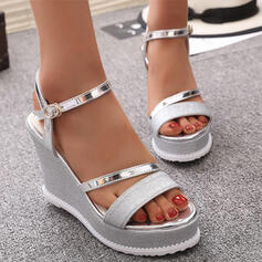 Women's PU Wedge Heel Sandals Platform Wedges Peep Toe With Sparkling Glitter Solid Color shoes
