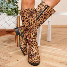 Femmes PU Talon bottier Bottes hautes bout rond avec La copie Animale Zip chaussures