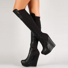 Femmes PU Talon compensé Bottes hautes bout rond avec Zip Couleur d'épissure chaussures