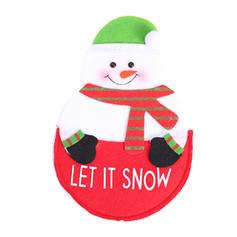 Noël joyeux Noël Bonhomme de neige Renne Père Noël Tissu Couverture de vaisselle