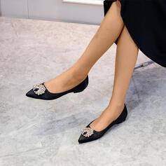Femmes Satiné Talon plat avec Brodé chaussures
