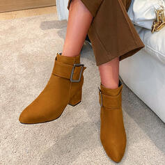 Femmes Similicuir Talon bottier Bottines Talons Bout pointu avec Zip Couleur unie chaussures