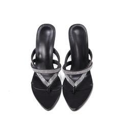 Femmes PU Talon stiletto Sandales Escarpins À bout ouvert Bout carré avec Strass Ouvertes chaussures