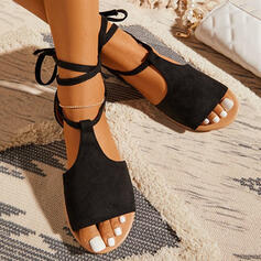 Women's Suede Flat Heel Sandals Peep Toe With Lace-up Solid Color shoes