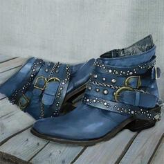 Femmes PU Talon bottier Bottes Martin bottes bout rond avec Rivet Couleur unie chaussures