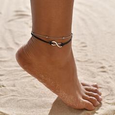 Simple Infini Alliage Corde en cuir Bijoux de plage Bracelets de cheville (Lot de 2)