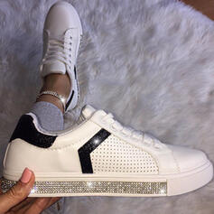 Women's PU Flat Heel Flats Round Toe Sneakers With Rhinestone Lace-up Splice Color shoes