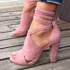 Women's Suede Chunky Heel Sandals Pumps Peep Toe With Hollow-out Solid Color shoes