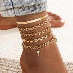 Lien et chaîne En couches Alliage Bracelets de cheville (Lot de 5)