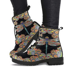 Women's PU Low Heel Boots Ankle Boots Round Toe With Lace-up Floral Print shoes