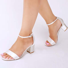 Women's Satin Chunky Heel Sandals Pumps Peep Toe With Buckle shoes