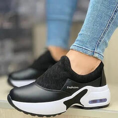 Women's PU Flat Heel Flats Sneakers Slip On With Solid Color shoes