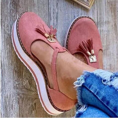 Femmes Similicuir Talon plat avec Tassel chaussures