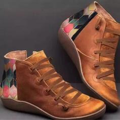Femmes PU Talon bas Bottines bout rond avec Zip Fleurie chaussures