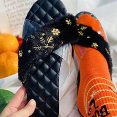 Femmes PU Talon plat Sandales Chaussures plates avec Motif appliqué chaussures