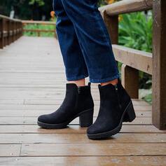 Femmes Microfibre Talon bottier Martin bottes bout rond avec Zip chaussures