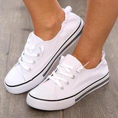 Femmes PU Talon plat Chaussures plates Low Top avec Dentelle Couleur unie chaussures