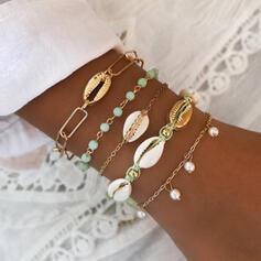 élégant Attrayant Alliage avec Perle d'imitation Coquille Parures Bracelets Bijoux de plage (Ensemble de 5 paires)