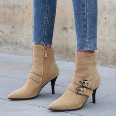 Femmes Similicuir Talon stiletto Bottines Talons Bout pointu avec Zip Couleur unie chaussures