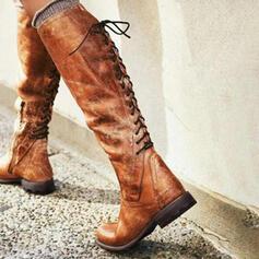 Femmes PU Talon bas Bottes Bottes hautes avec Dentelle chaussures
