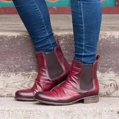 Femmes PU Talon bottier Martin bottes bout rond avec Couleur d'épissure chaussures