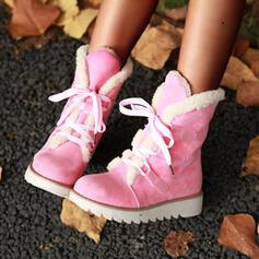 Femmes Suède Talon compensé Bottes mi-mollets Bottes neige bout rond avec Dentelle Couleur unie chaussures