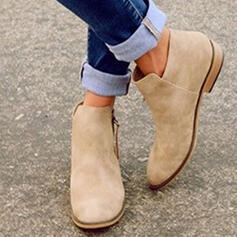 Femmes Suède Talon plat Bottines avec Zip chaussures