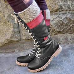 Femmes PU Talon bas Bottes hautes Bottes neige Bottes cavalières bout rond avec Dentelle Couleur d'épissure chaussures
