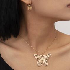 À la mode Style Vintage Simple Alliage avec Papillon Femmes Dames Colliers Boucles d'oreilles 2 PCS