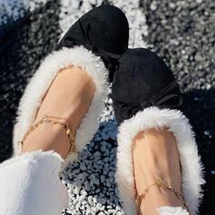Femmes Suède Talon plat bout rond Flâneurs Glisser sur avec Feather Bowknot Fausse Fourrure chaussures