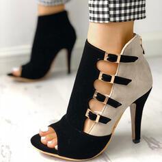 Femmes PU Talon stiletto À bout ouvert avec Zip chaussures