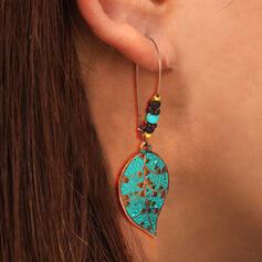 Feuilles en forme Boho Alliage Perles Femmes Boucles d'oreilles 2 PCS