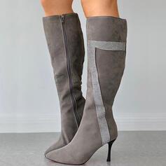 Femmes PU Talon stiletto Bottes hautes Bout pointu avec Zip Couleur d'épissure chaussures