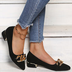 Women's Suede Chunky Heel Pumps Closed Toe Pointed Toe With Chain Solid Color shoes