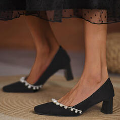 Women's Suede Chunky Heel Pumps Heels With Imitation Pearl Solid Color shoes