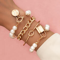 Style Vintage Lien et chaîne En couches Alliage avec Perle d'imitation Pièce de monnaie Bracelets (Lot de 4)