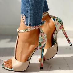 Femmes Similicuir Talon stiletto Sandales Escarpins À bout ouvert avec Boucle chaussures