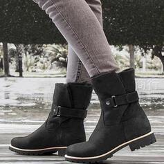 Femmes PU Talon bottier Bottes mi-mollets bout rond avec Boucle chaussures