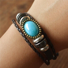 Vintage Classic Alloy Turquoise Wooden Beads Women's Men's Bracelets