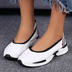 Women's Microfiber Flat Heel Flats Low Top Round Toe Slip On With Splice Color shoes
