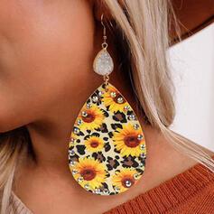 Leopard Tournesol Natural Stone Alliage Strass Cuir Femmes Boucles d'oreilles 2 PCS