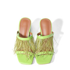 Femmes PU Talon stiletto Sandales Escarpins À bout ouvert Bout carré avec Ouvertes Tassel chaussures