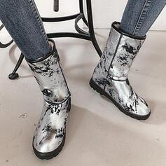 Femmes PU Talon bottier Bottes mi-mollets Bottes neige bout rond avec Zip Couleur unie chaussures