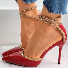 Femmes PU Talon stiletto Escarpins Bout pointu avec Rivet Boucle chaussures