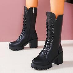 Femmes PU Talon bottier Bottes mi-mollets Martin bottes bout rond avec Dentelle Couleur unie chaussures