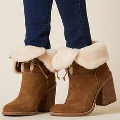 Femmes PU Talon bottier Bottes mi-mollets Bottes neige bout rond Bottes d'hiver avec Dentelle Couleur unie chaussures