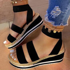 Femmes Similicuir Talon compensé Sandales Plateforme À bout ouvert Escarpins avec Semelle chaussures