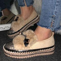 Femmes Similicuir Talon plat Chaussures plates Glisser sur avec Bowknot Fausse Fourrure chaussures
