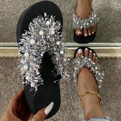 Women's PU Flat Heel Sandals Flats Peep Toe Flip-Flops Slippers With Hollow-out Tassel shoes