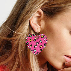 Brillant Coeur La Saint-Valentin Alliage Strass Cuir Femmes Boucles d'oreilles 2 PCS